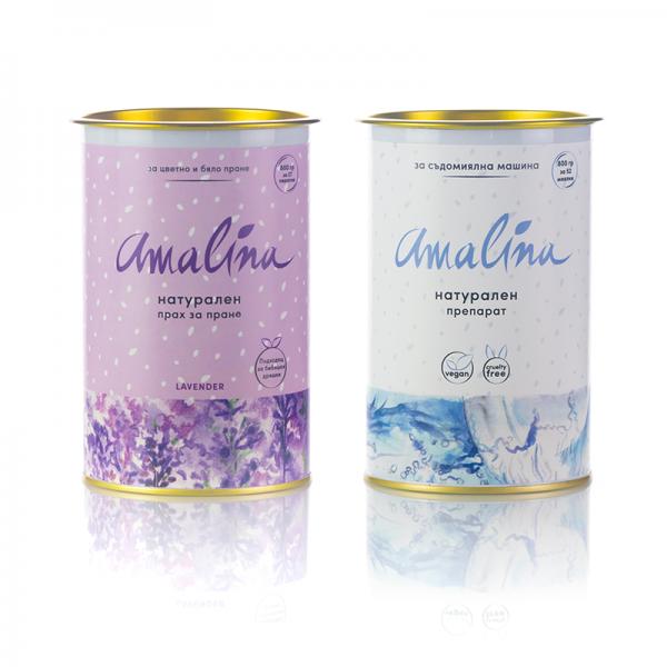 амалина-пакет прах за пране лавандула пюлс препарат за съдомиялна